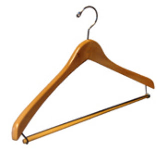 natural wood clothes hanger